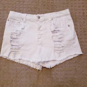 Mink Pink white distressed shorts size L.